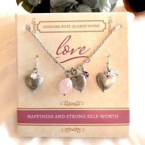 Necklace/Earring Set with Genuine Rose Quartz